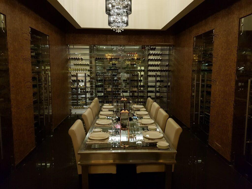 wine cellar room for private dinners at dreams la mareas