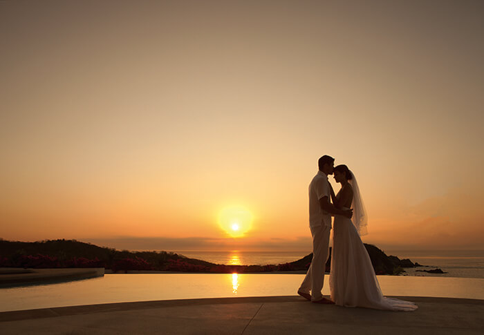 Sunset wedding in Costa Rica at the adults only Secrets Papagayo