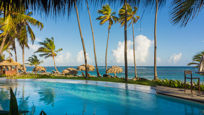 endless blue water at the zoetry punta cana infinity pool