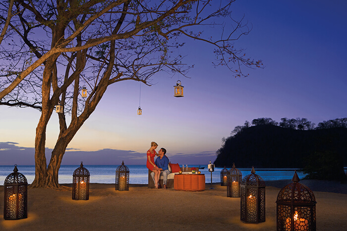 romantic dinner on the beach at the dreams las mareas, costa rica