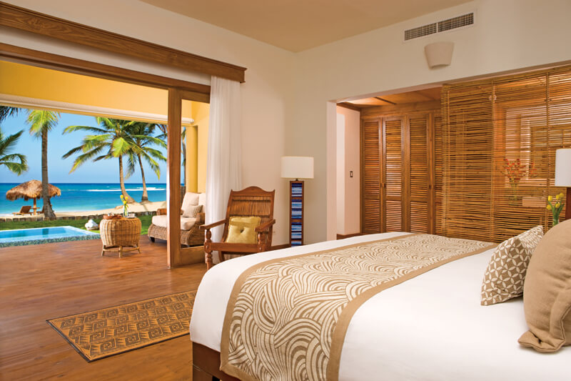ocean front room with king bed and ocean view at the Zoetry Agua Punta Cana