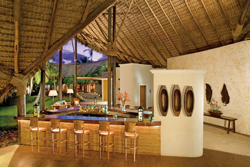 Palapa roof lobby bar at the Zoetry Agua Punta Cana