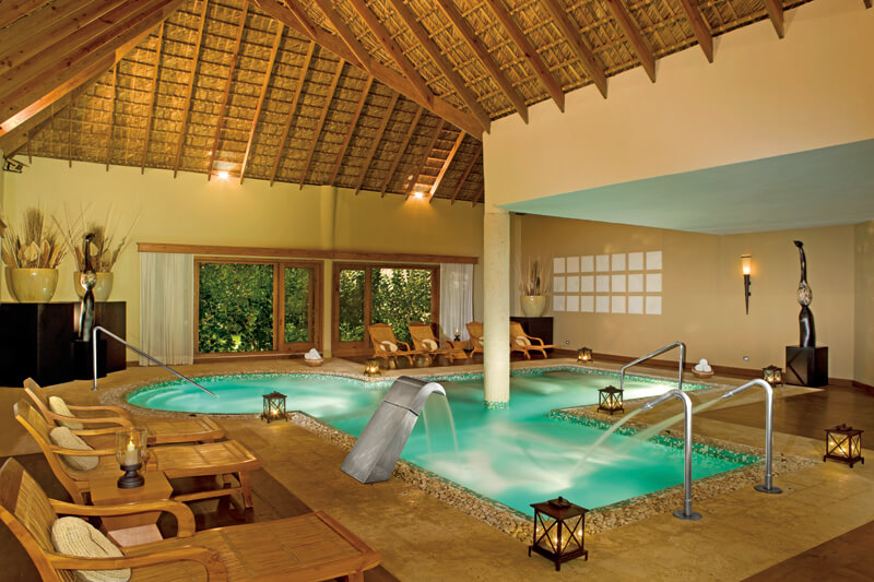 Hydrotherapy area at the spa in the Zoetry Agua Punta Cana