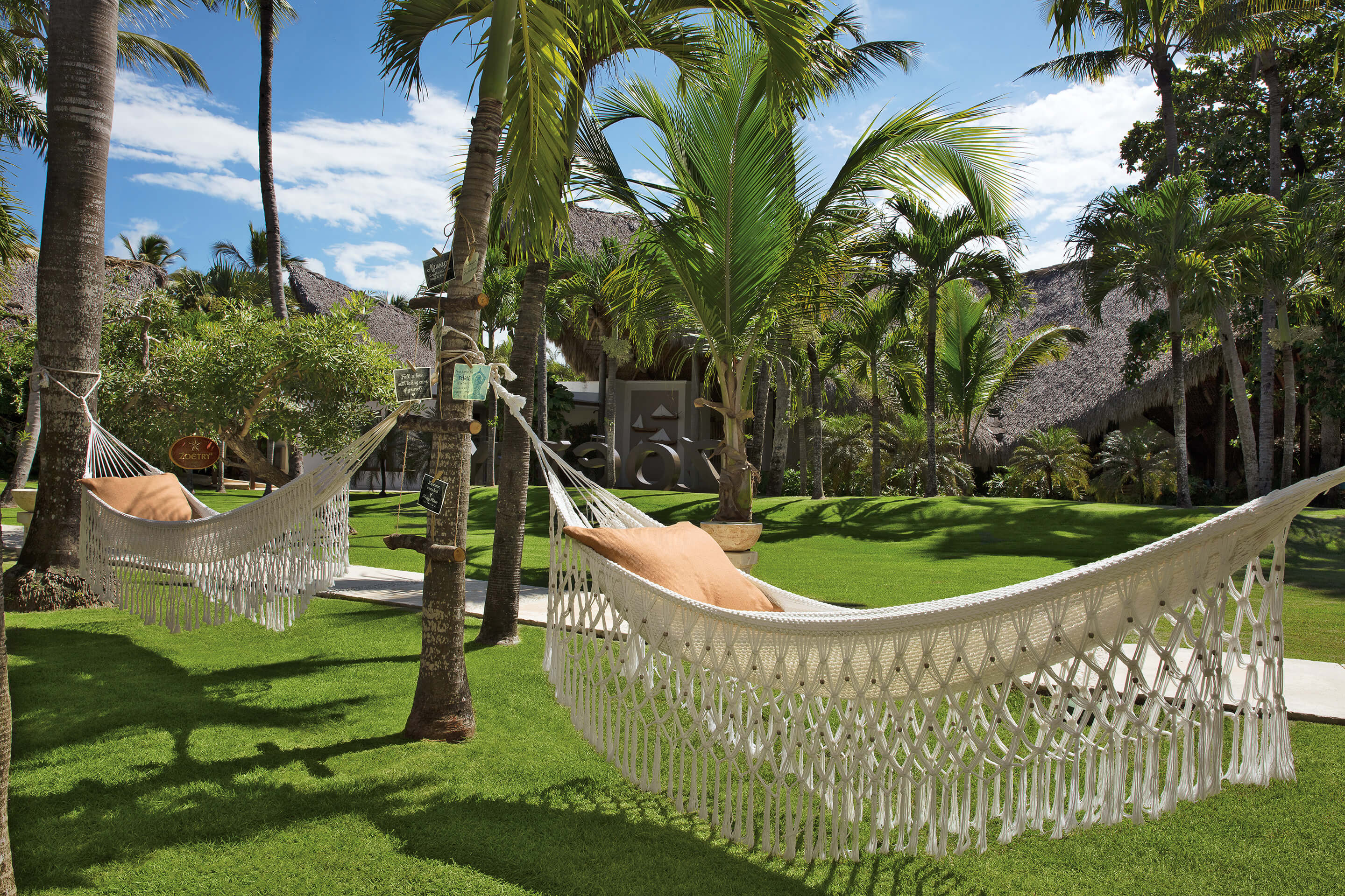 lazy hammock area in the gardens at the Zoetry Agua Punta Cana