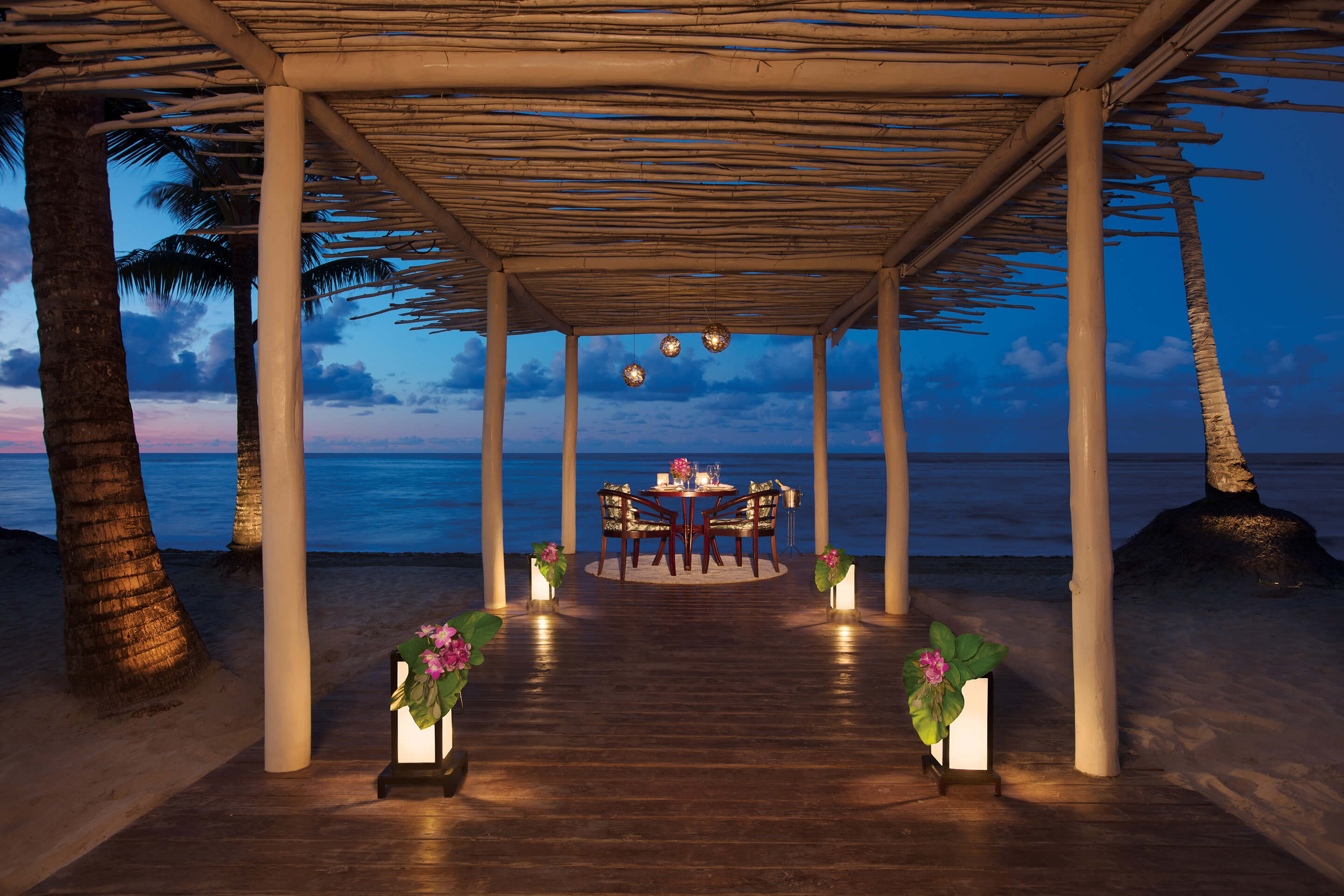 romantic dinner on the beach at the Zoetry Agua Punta Cana