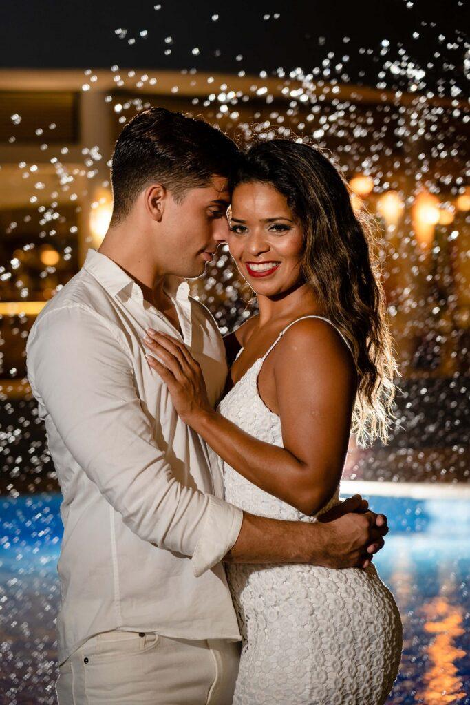 wedding couple in the rain
