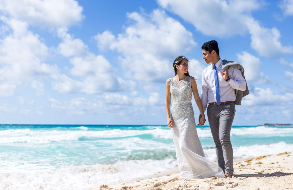 destination wedding planning for this couple included a trash the dress shoot in cancun