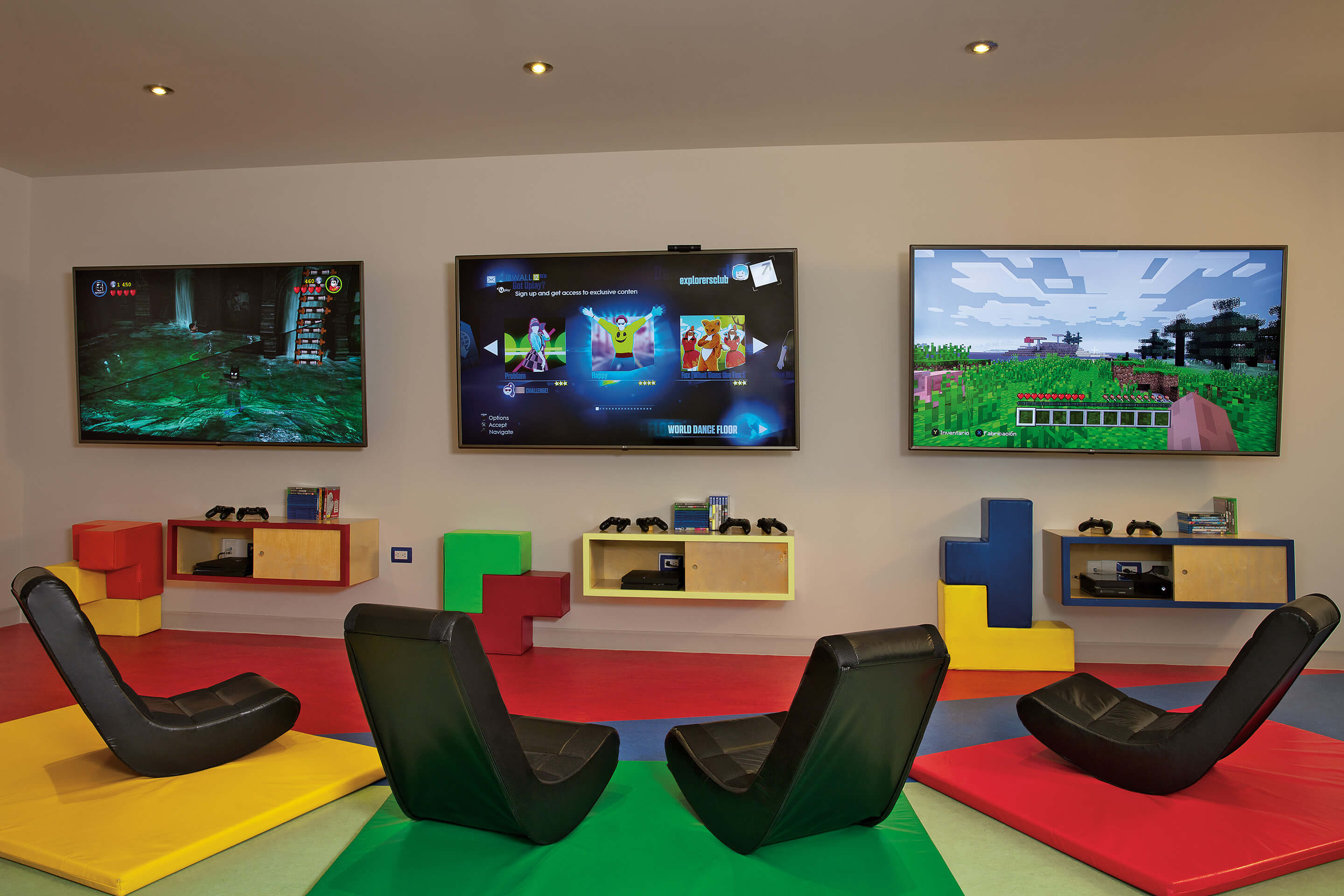 video game area at the Dreams Los Cabos kids club