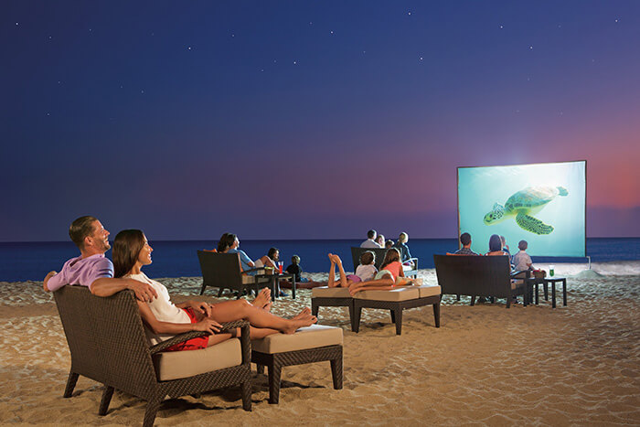 movie night on the beach at the Dreams Los Cabos