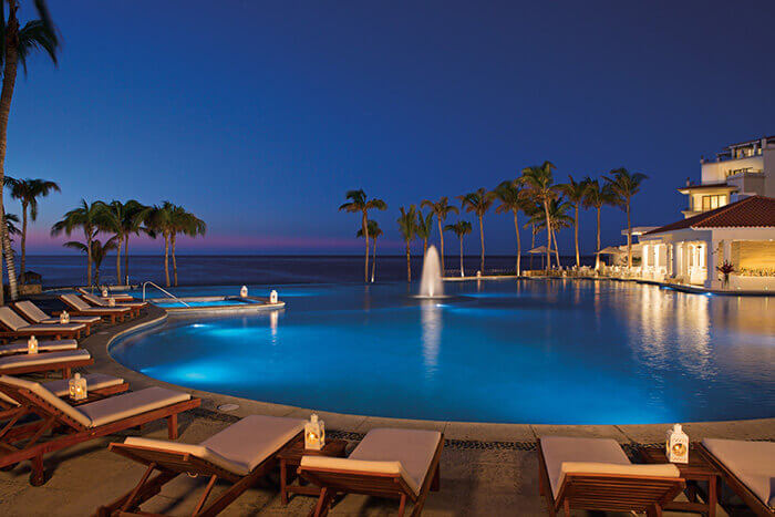Dreams Los Cabos nighttime view of the main pool