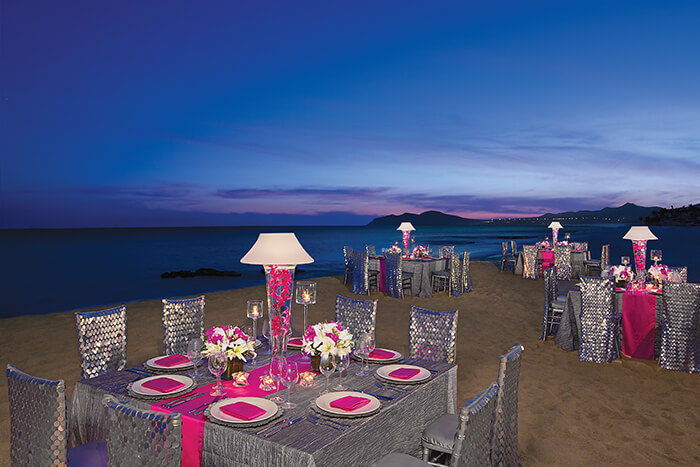 beach wedding reception venue at the Dreams Los Cabos