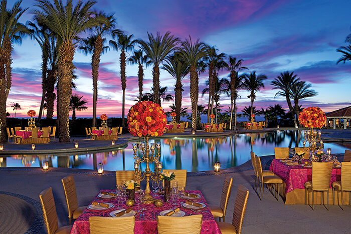 pool side and ocean view wedding venue at the Dreams Los Cabos