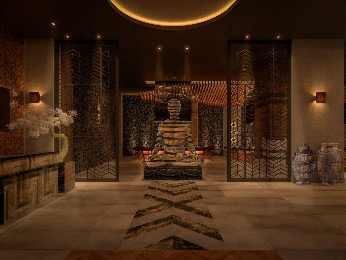 Zen like statue in the Asian Restaurant hyatt ziva cap cana