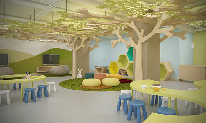 indoor kids club area at the dreams playa mujeres hotel