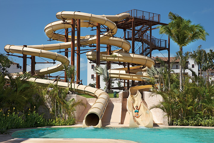 water slide area at the Dreams Playa Mujeres