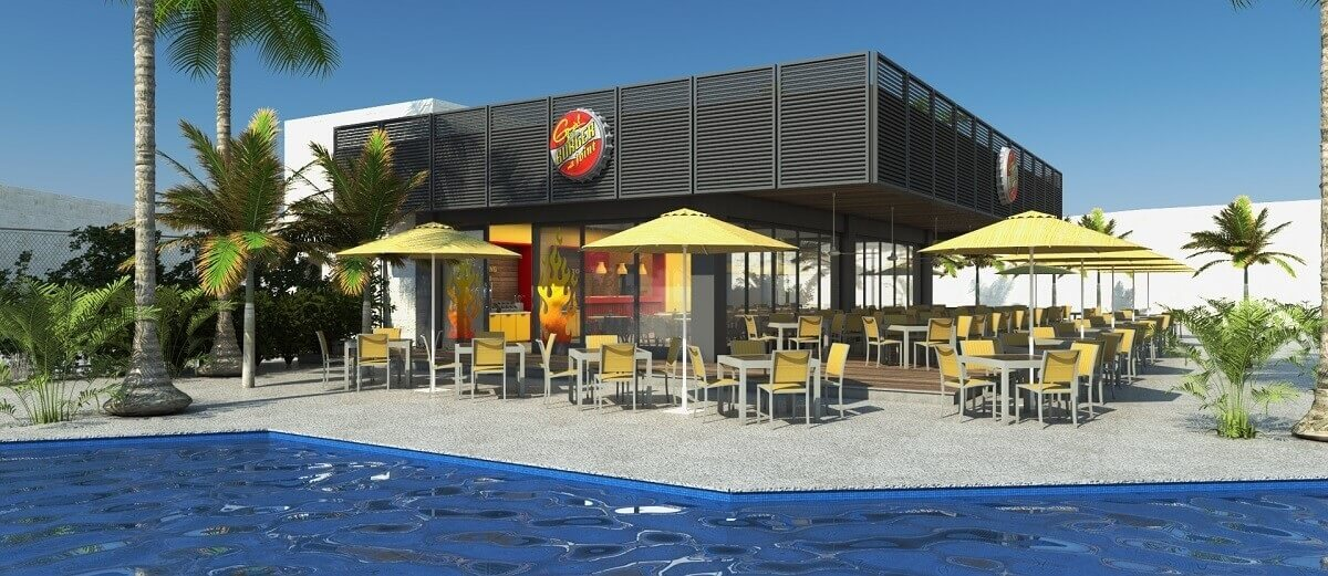 render of the burger restaurant by Guy Fieri at the Planet Hollywood Cancun