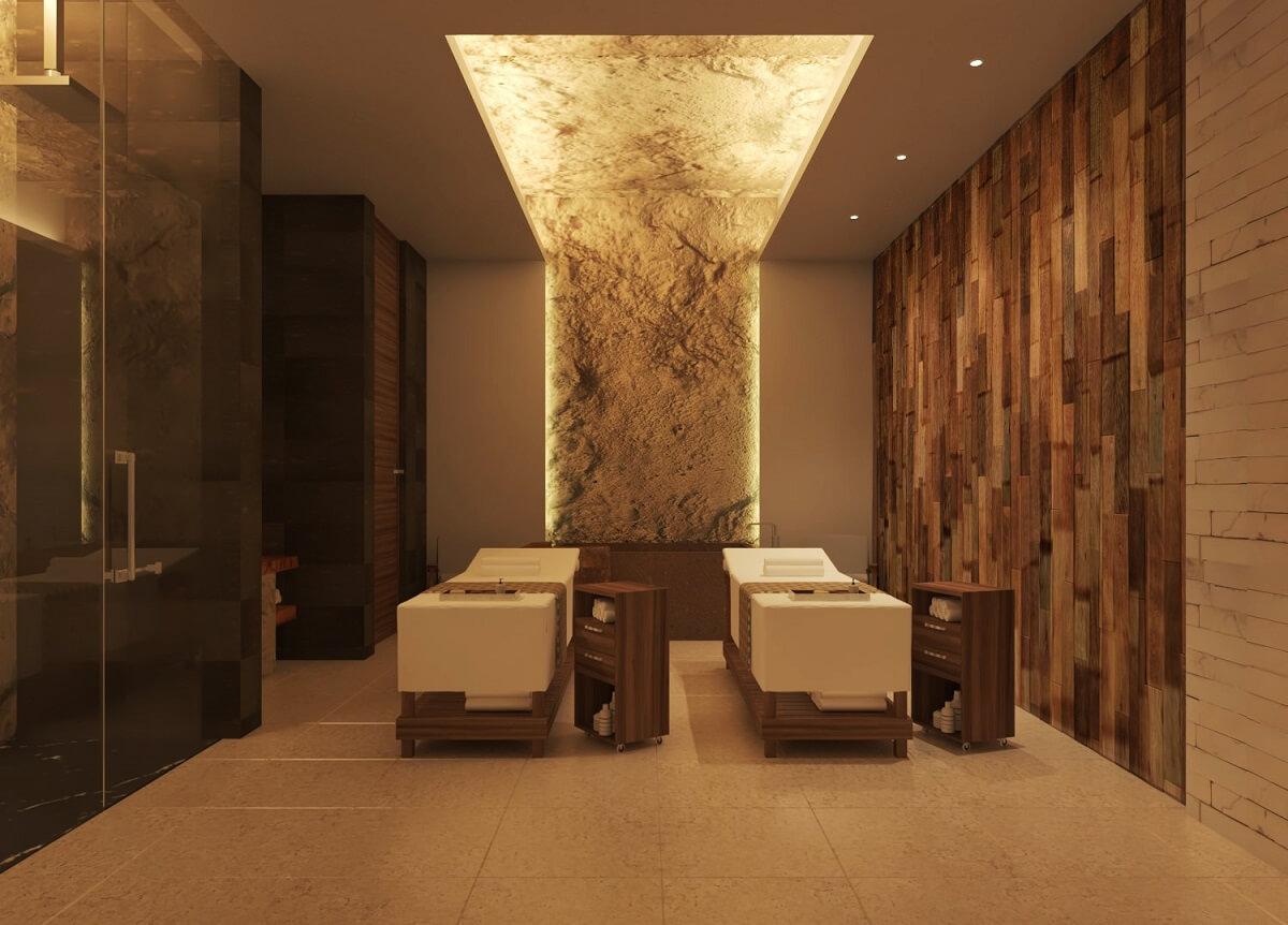 indoor couples massage area in the hyatt ziva cap cana spa