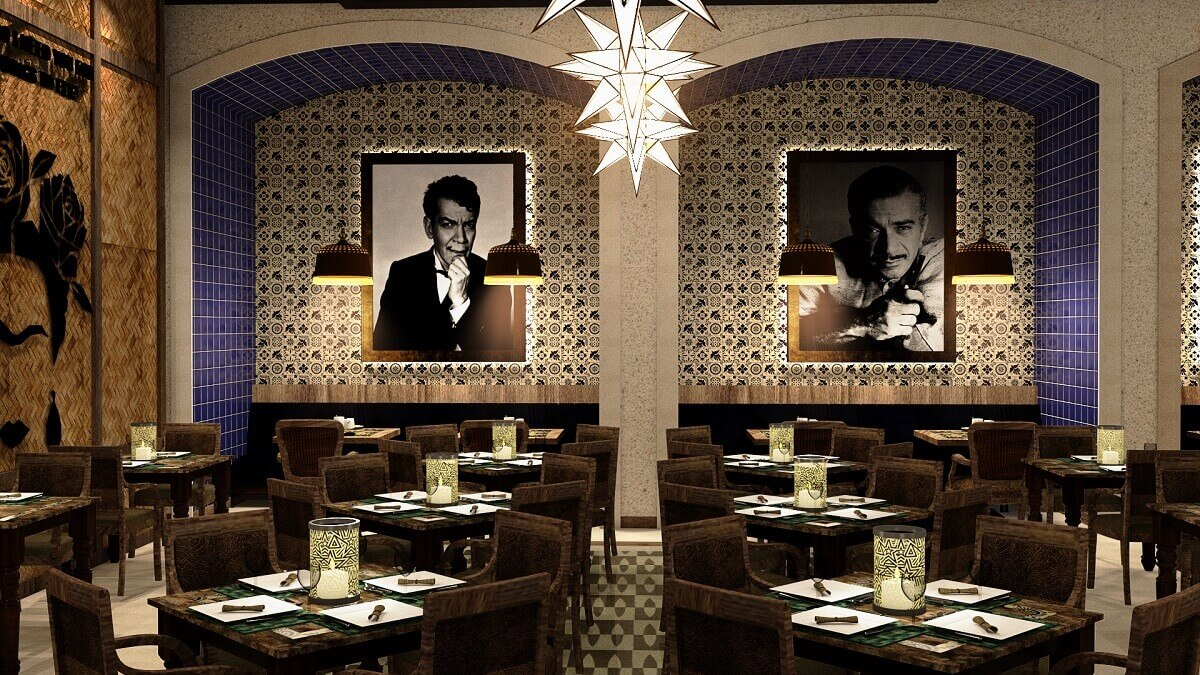 rendering of the interior of the Mexican restaurant at the Planet Hollywood Cancun