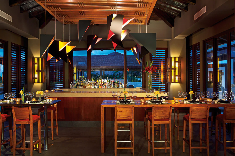 sushi bar area at the Secrets Playa Mujeres