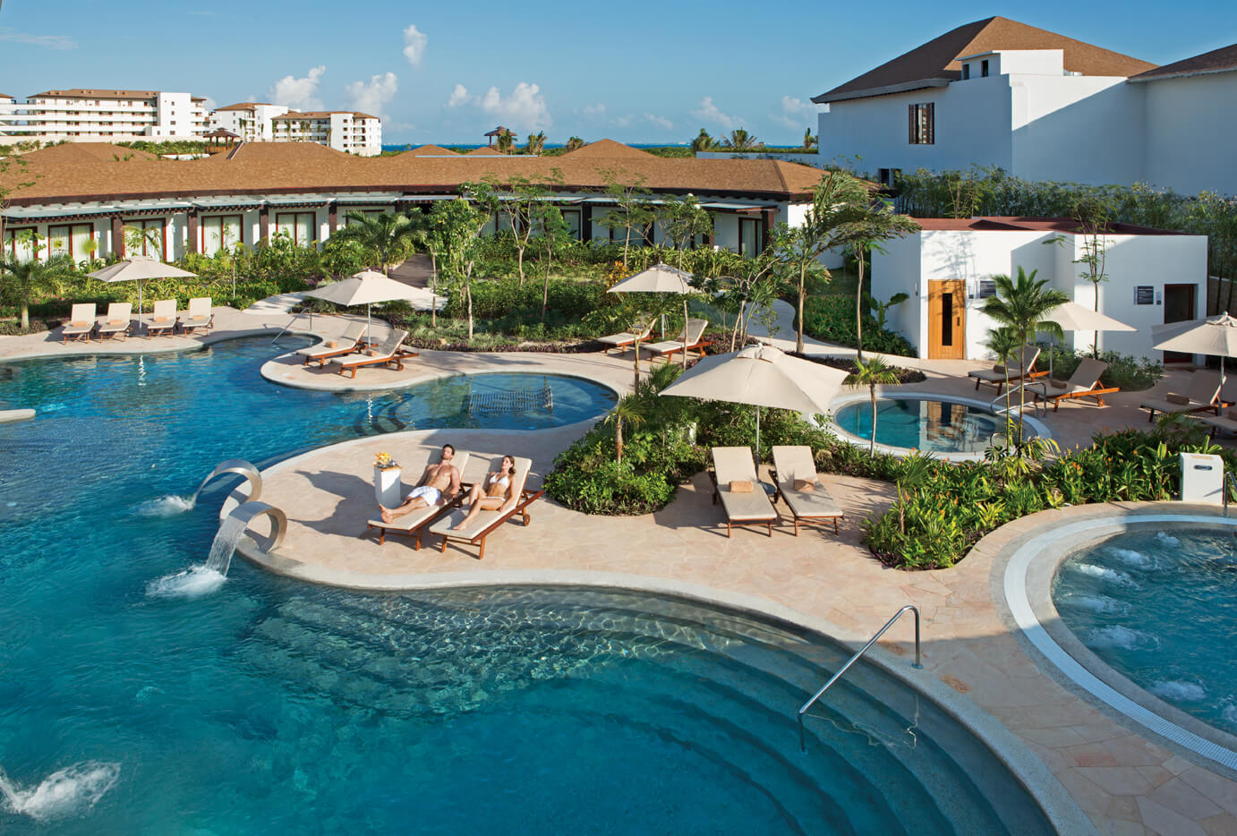 outdoor hydrotherapy area at the Secrets Playa Mujeres spa