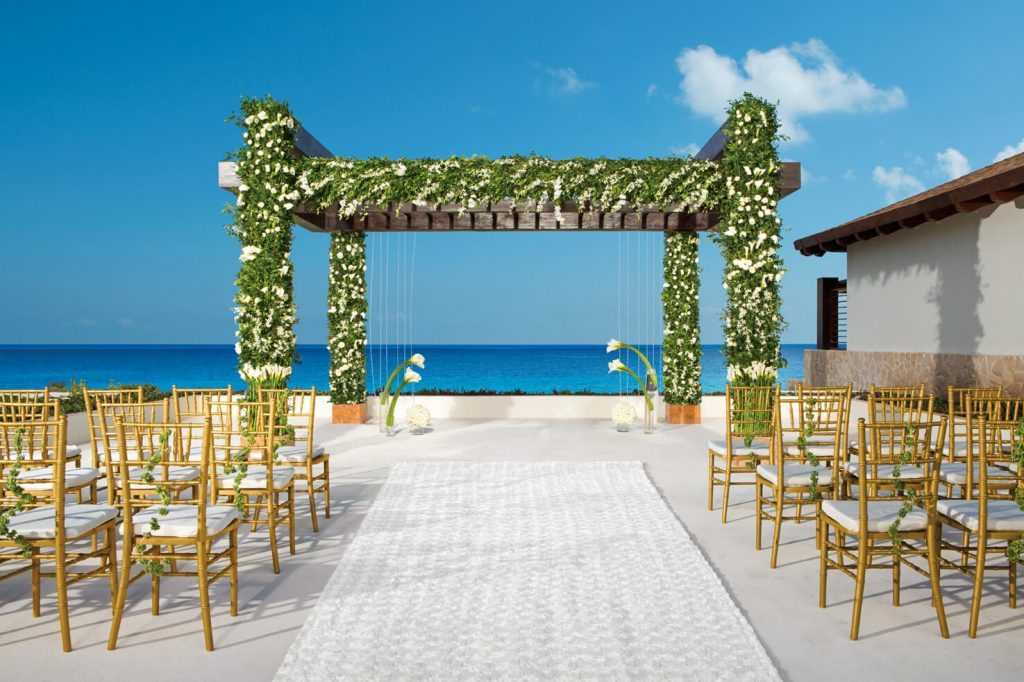 ocean view wedding gazebo at the Secrets Playa Mujeres adults only resort which is one of the top 10 hotels for weddings in Playa Mujeres