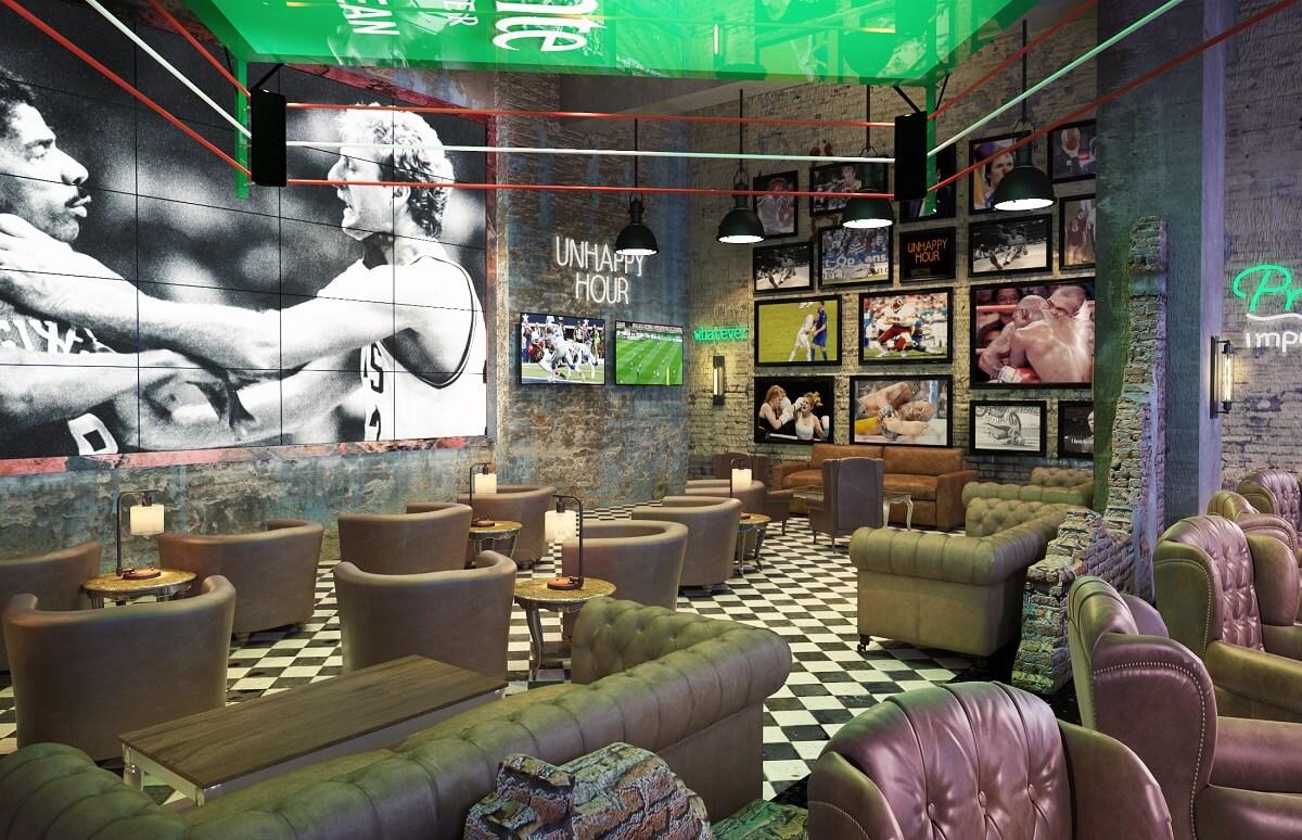 sports bar area, shared between the two hotels hyatt ziva cap cana and hyatt zilara cap cana