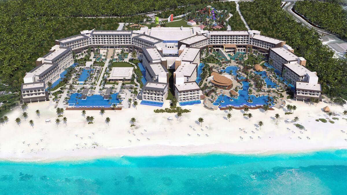 aerial view of the hyatt ziva hotel and the hyatt zilara hotel in cap cana, dominican republic