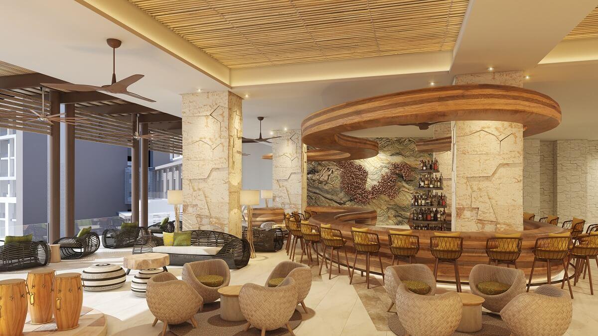 chic lobby bar area at the hyatt ziva cap cana