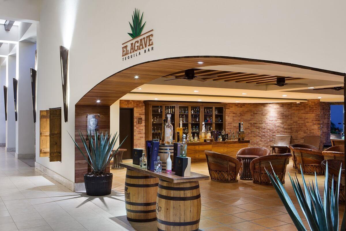 tequila barrels at the bar at Hyatt Ziva Los Cabos