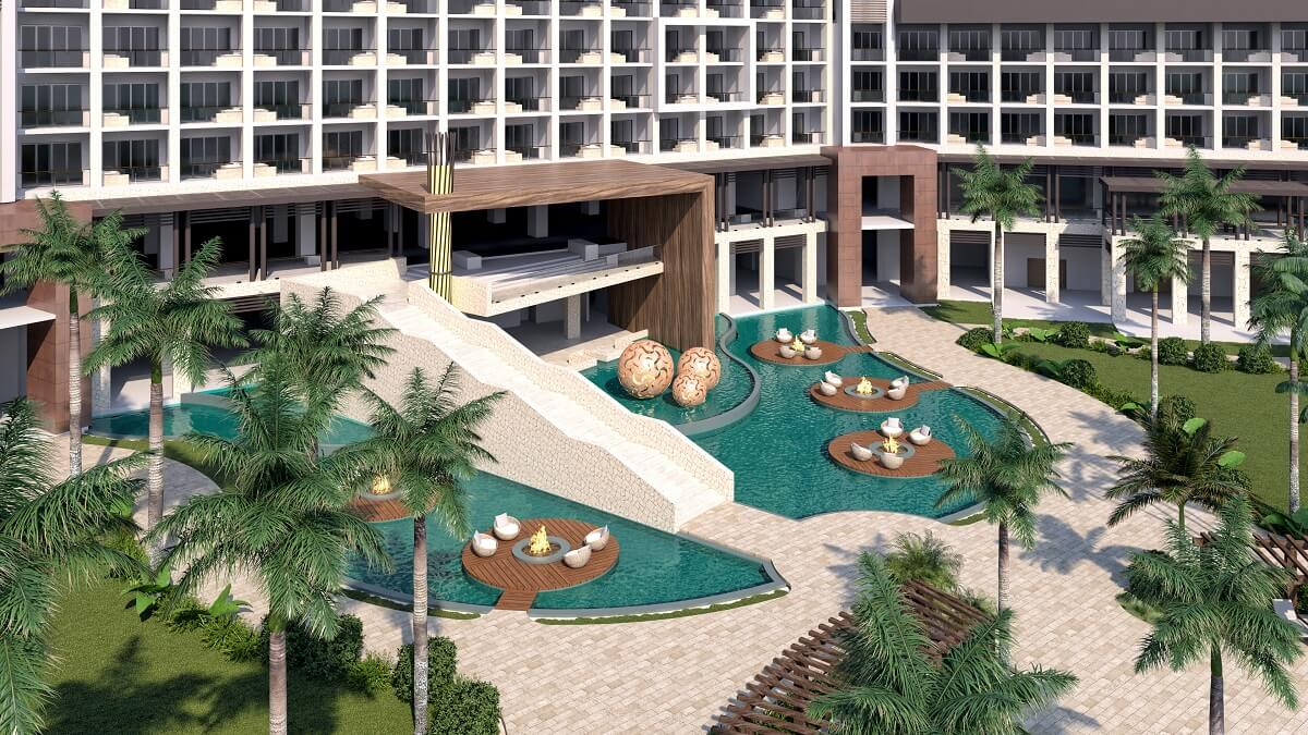 outdoor area with seating areas at the hyatt ziva cap cana