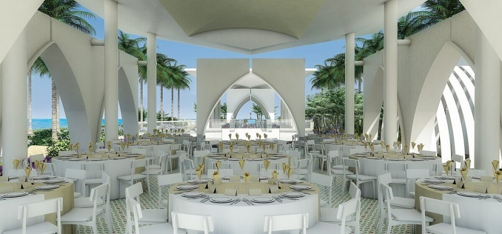 rendering of the wedding reception venue Planet Hollywood Cancun