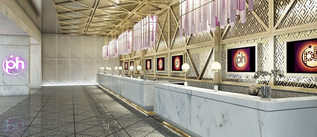 render of the front desk check in area Planet Hollywood Cancun