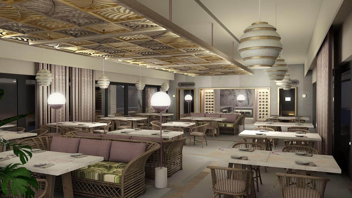 render of seafood Catch restaurant for adults only at at the Planet Hollywood Cancun