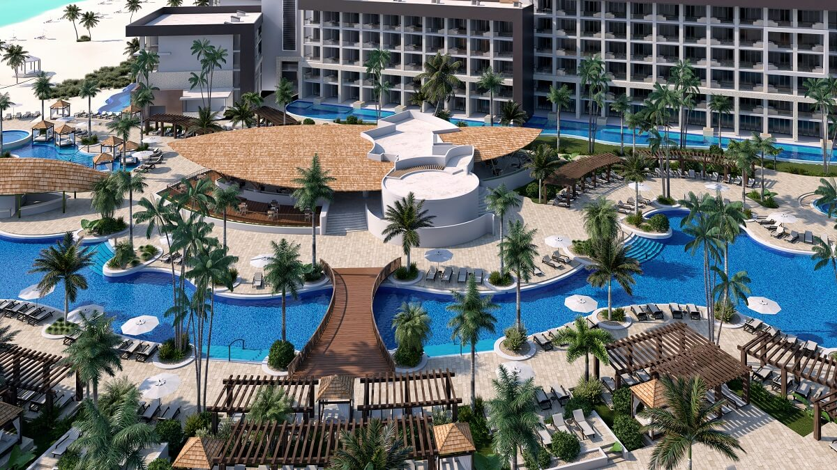 aerial view of the pool area hyatt ziva cap cana