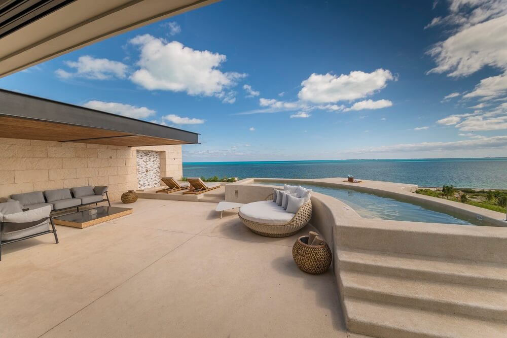 ocean views from the ample terrace of the master suite at atelier hotel