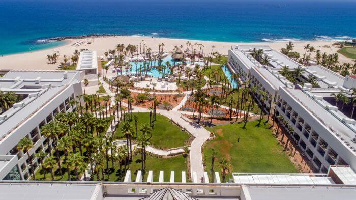 aerial picture of gardens, main pool and beach at the paradisus los cabos