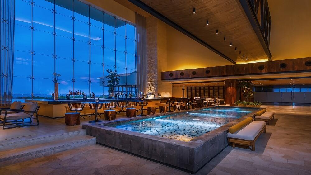 main lobby bar area at atelier hotel