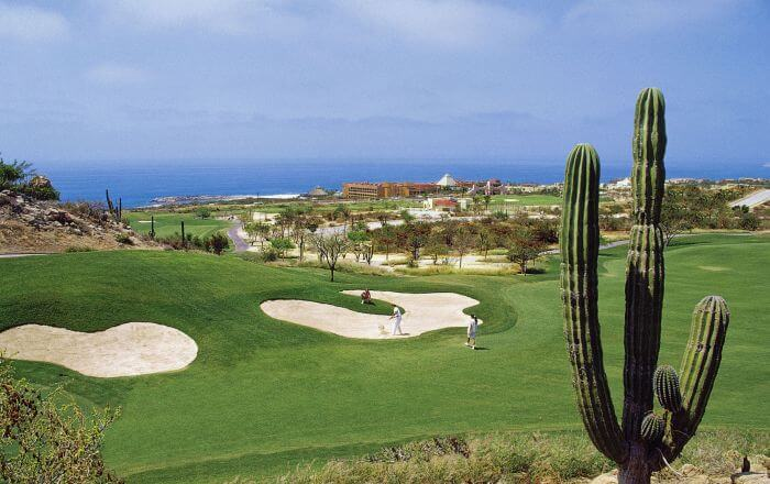 view of the bunkers and ocean at the golf club paradisus los cabos