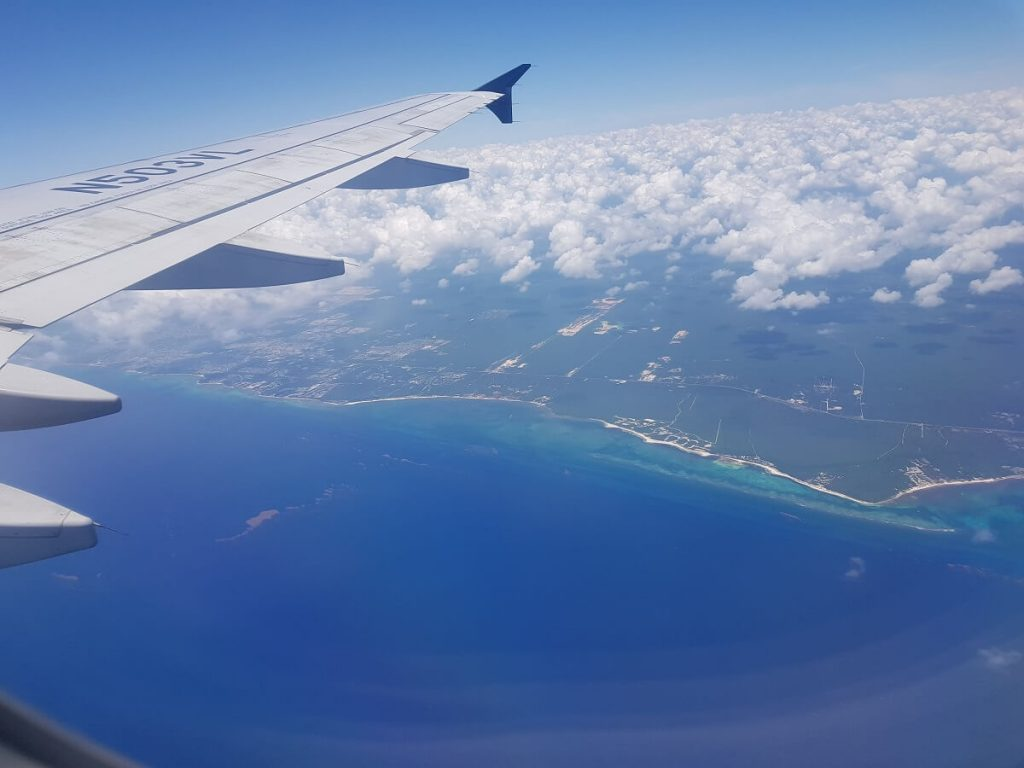 aerial view from a plane of the riviera maya