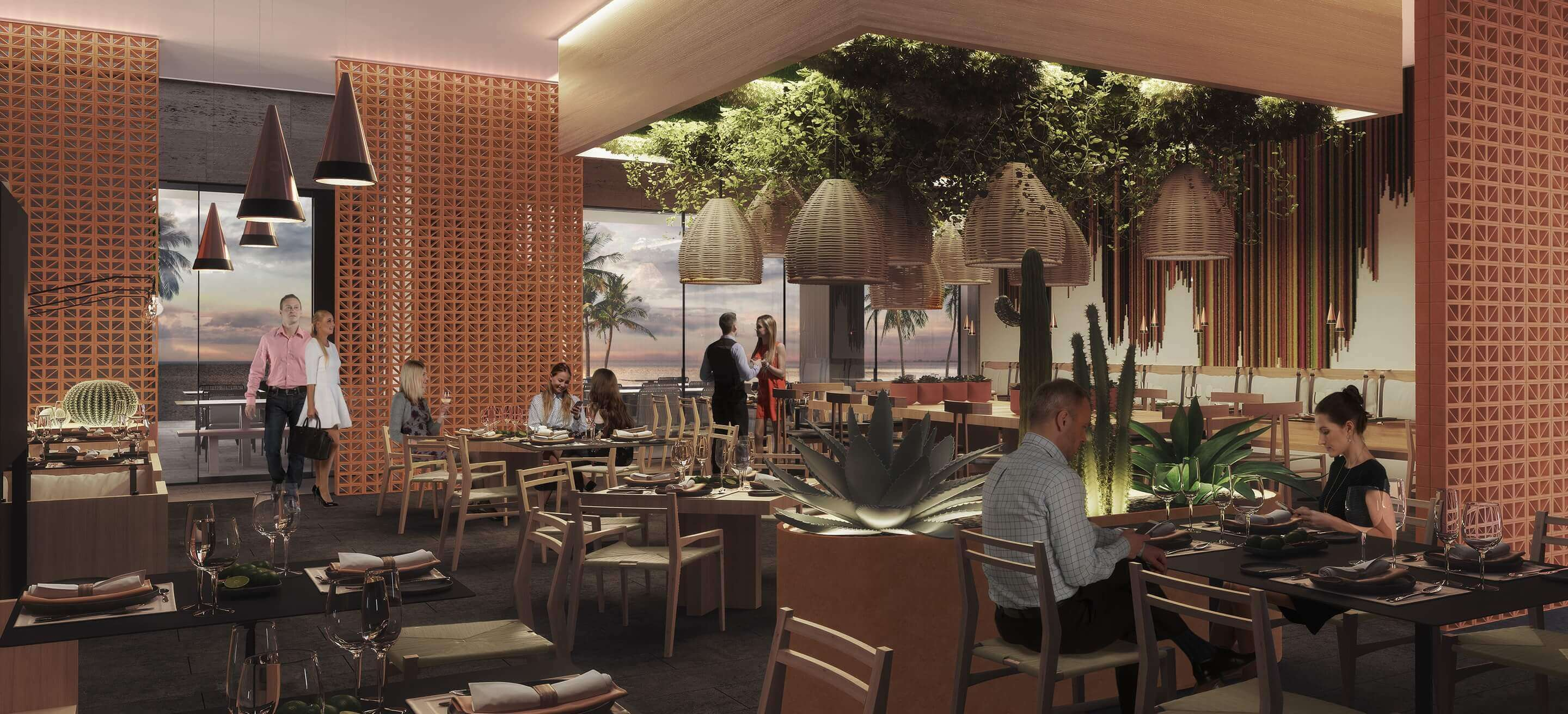 render of the italian restaurant interior at the dreams sands cancun
