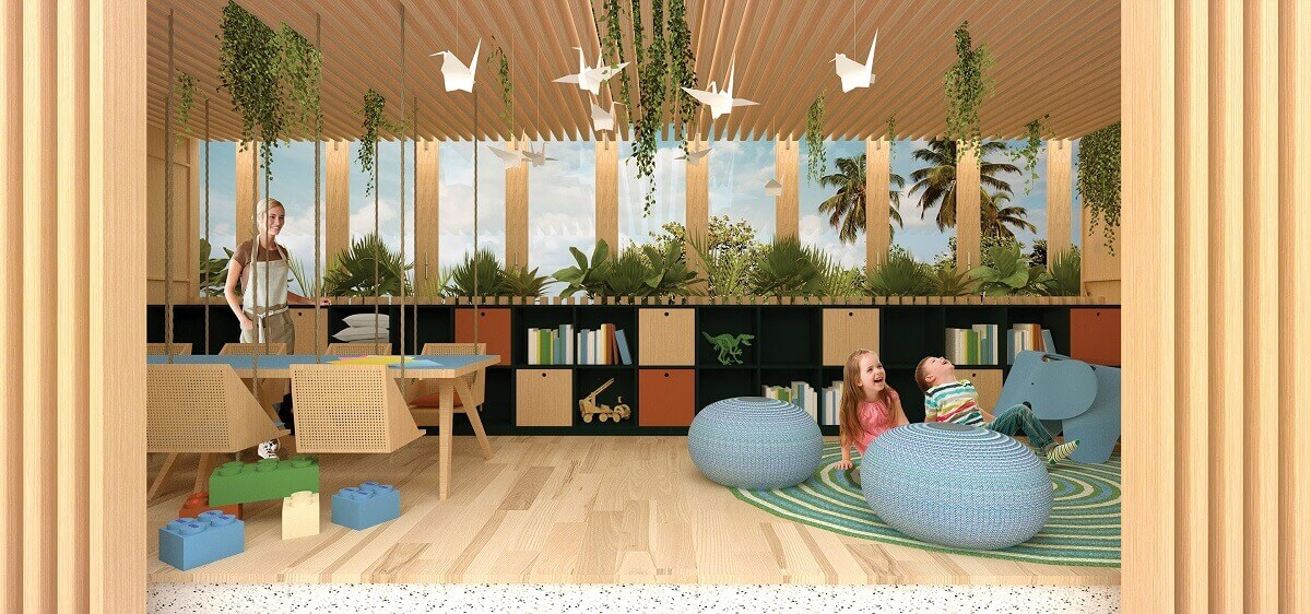 render of the children's area in the buffet restaurant at dreams vista cancun