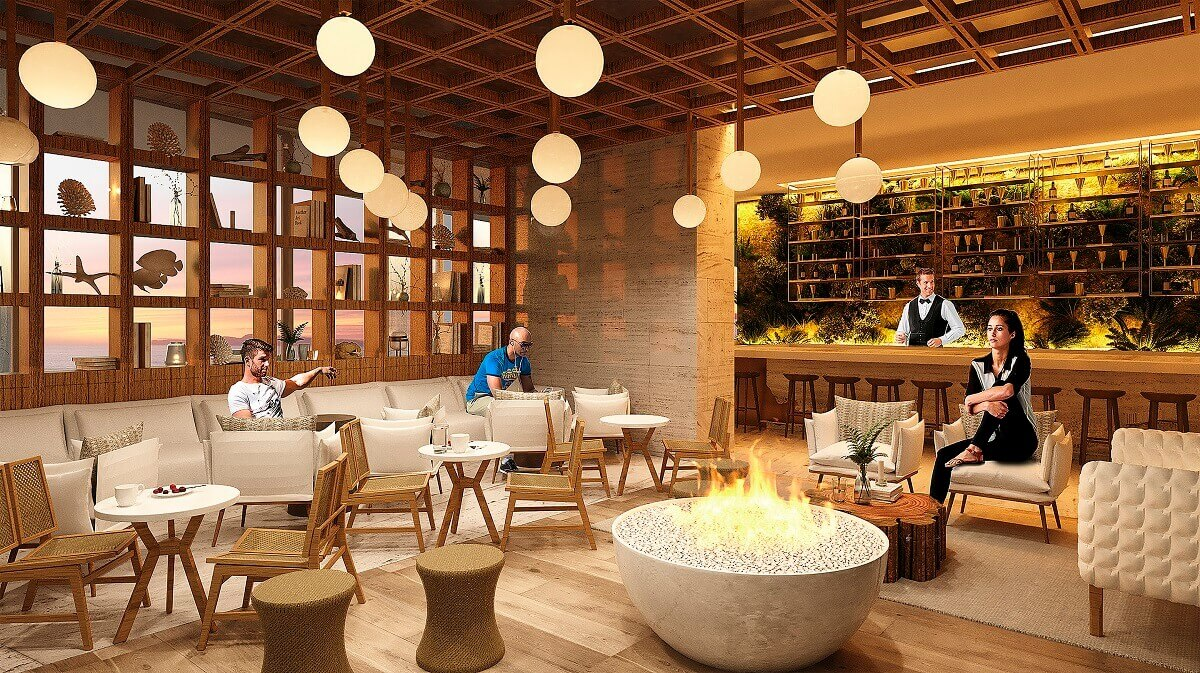 render of the lobby with firepit and bar at dreams vista cancun