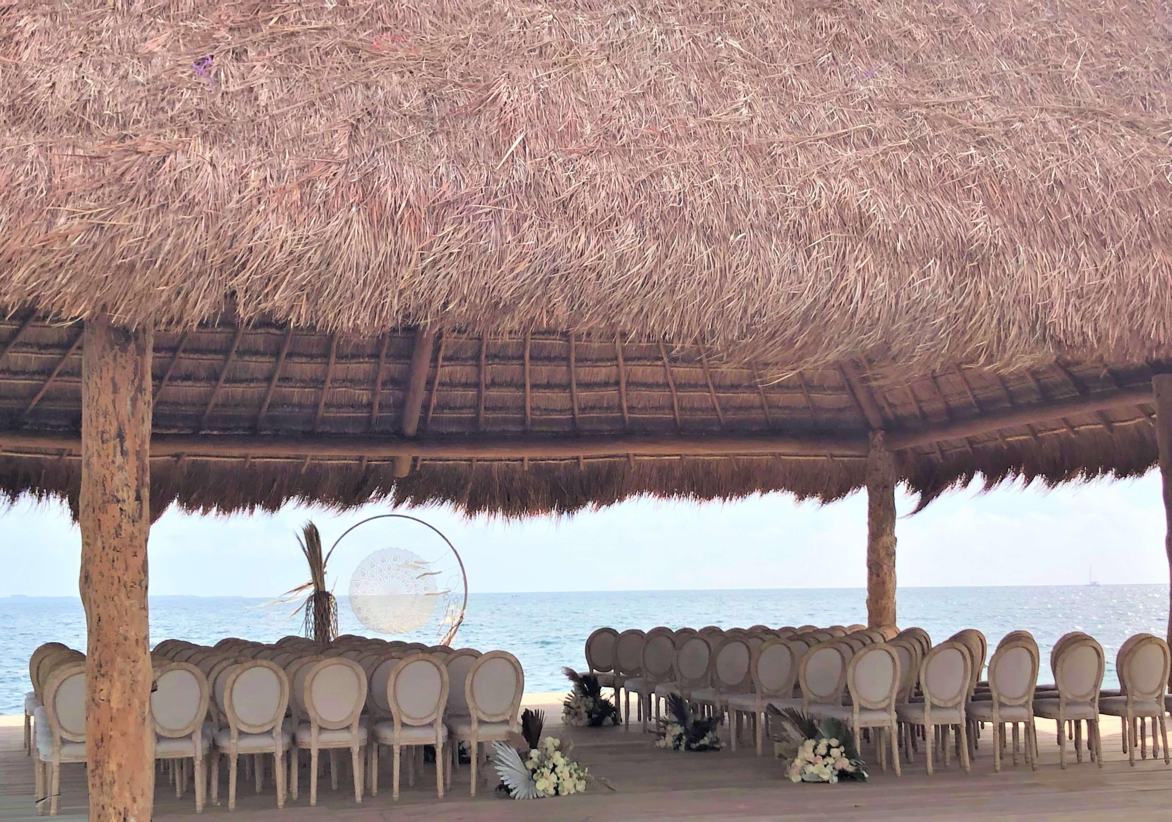 wedding deck set up at dreams vista cancun