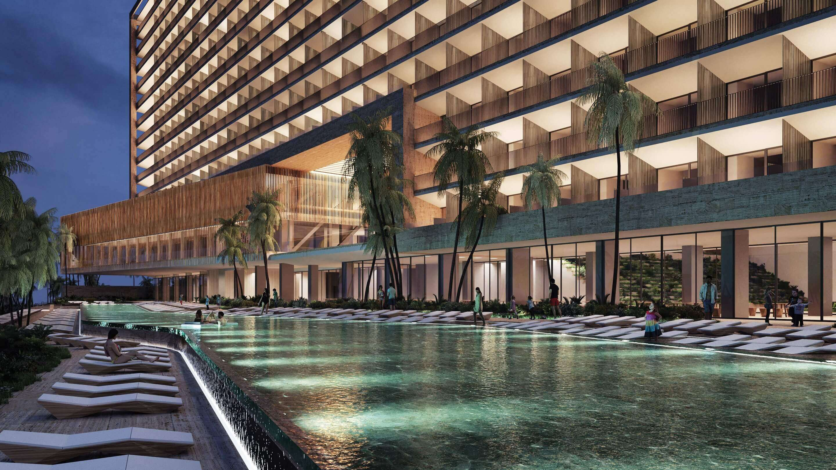 render of the pool area at dusk, dreams vista cancun