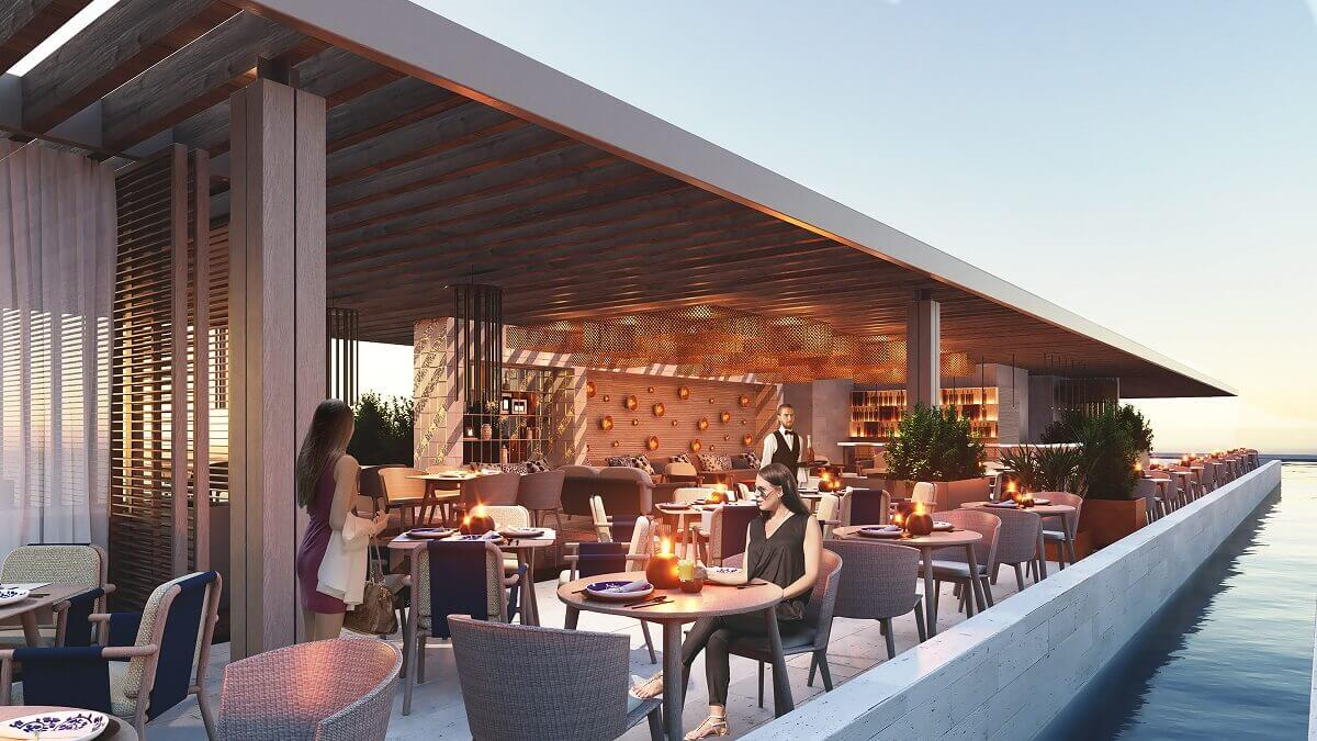 render of the rooftop bar at the dreams vista in cancun