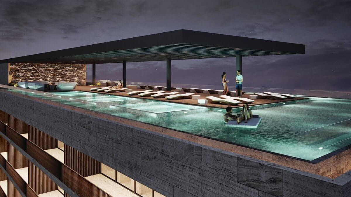 render of the rooftop pool area at dusk, dreams vista cancun