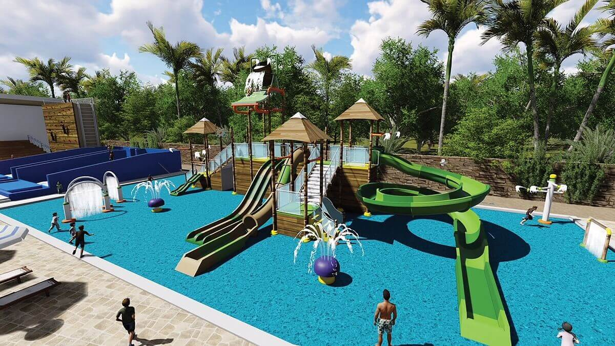 render of the splash park with water slides at dreams vista cancun
