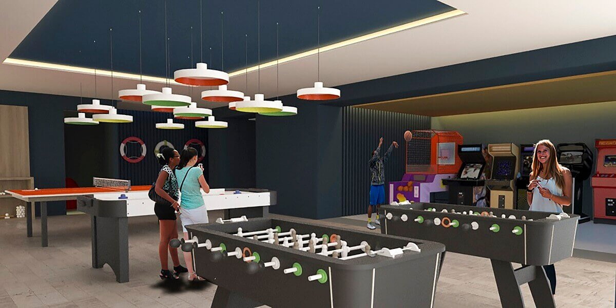 render of the teens club with ping pong, other sports and video games
