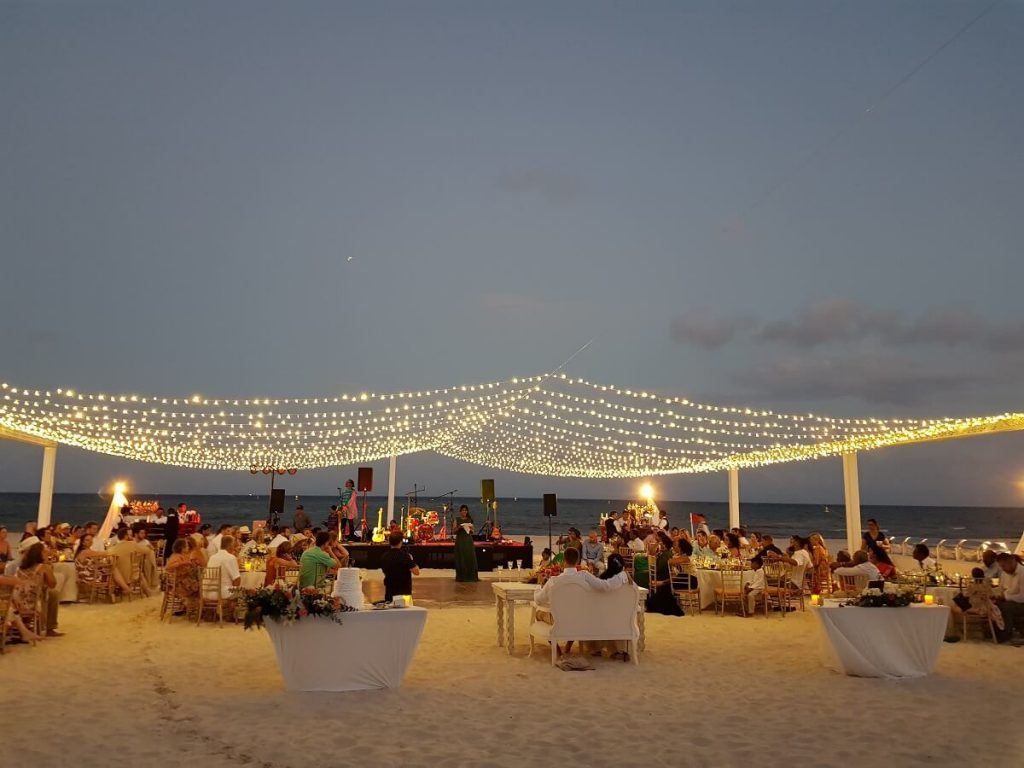 large wedding group beach destination wedding