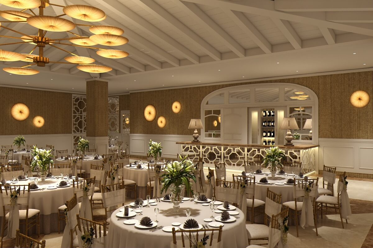 render of the wedding back up area and ballroom at majestic elegance playa mujeres